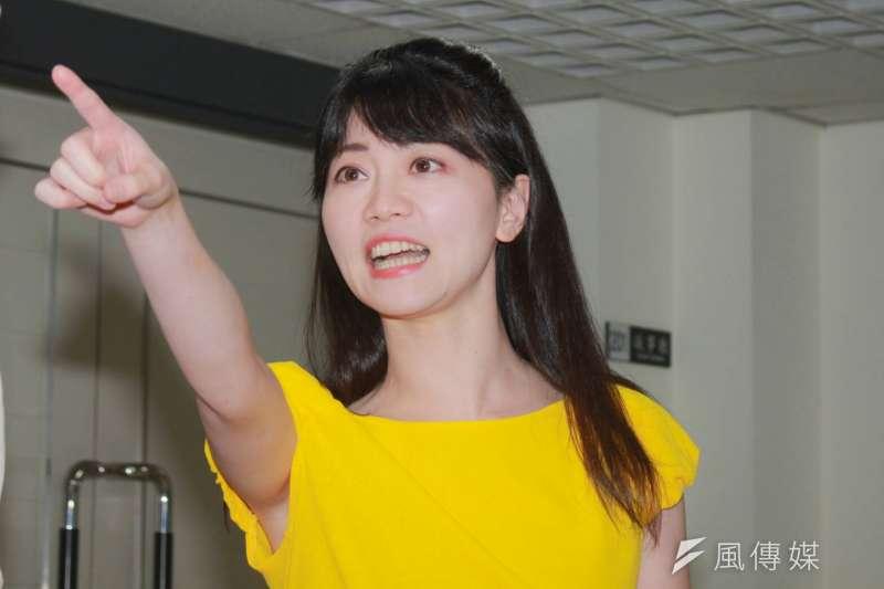 民進黨台北市議員高嘉瑜(見圖)認為,台北市長柯文哲參選2020的機率「比被雷打到還低」。(資料照,方炳超攝)