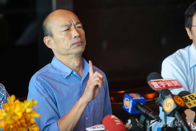 作者表示,罷免高雄市長韓國瑜(見圖),是人民的權利,鹿死誰手,目前還難説,可能也不重要,選民投票的機會卻不該因韓國瑜辭職,而被他一人否决掉。(資料照,顏麟宇攝)
