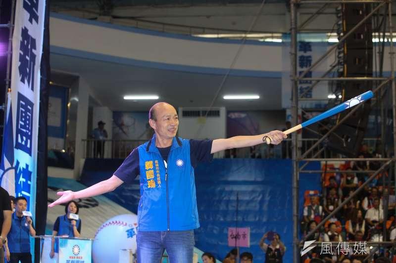 國民黨高雄市長參候選人韓國瑜「意外」在高雄市長選戰打得虎虎生風。(陳明仁攝)