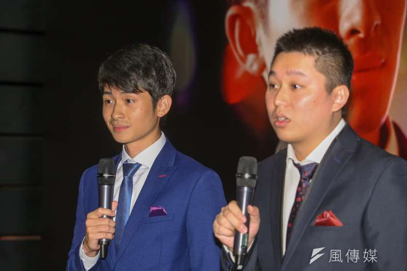 20180820-台灣首支政治諷刺脫口秀〈博恩夜夜秀〉首映記者會,出自台大的主持人曾博恩,右為製作人謝政豪。(陳明仁攝)