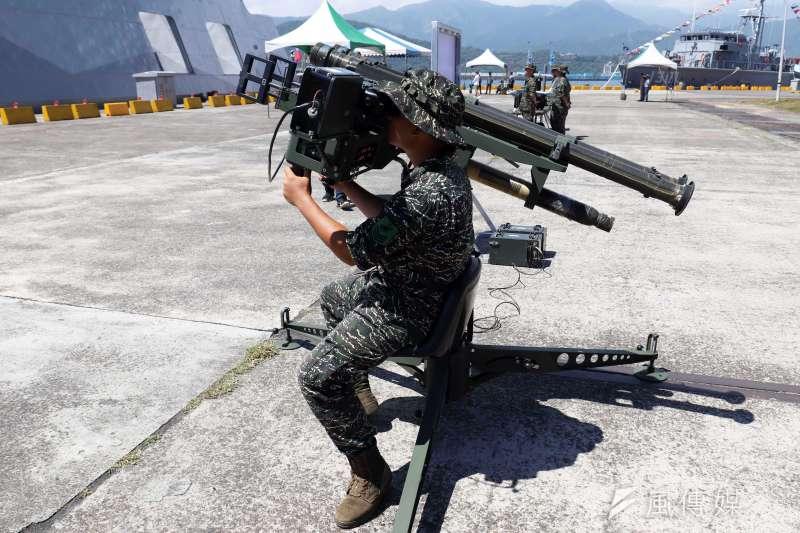 20180822-海軍蘇澳基地營區開放,展示陸戰隊所使用的刺針飛彈。(蘇仲泓攝)
