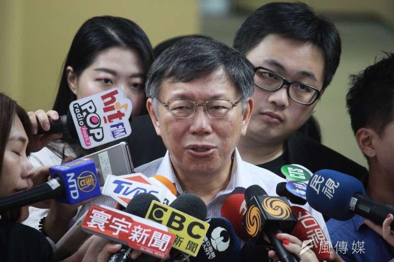 台北市長柯文哲23日上午在市府受訪。(方炳超攝).jpg