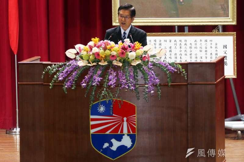 國防部長嚴德發823砲戰60周年紀念大會。(蘇仲泓攝)