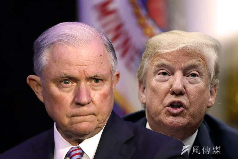 美國總統川普(右)23日槓上美國司法部長賽辛斯(照片:美聯社/製圖:風傳媒)