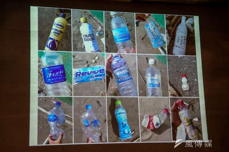 20180828-綠色和平「台灣本島海岸積了近 16 萬袋海洋垃圾 」記者會,主要海廢保特瓶。(陳明仁攝)