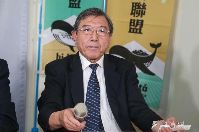 台灣基督長老教會議長薛伯讚,出席20180831-喜樂島聯盟「1020全民公投反併吞」記者會。(陳明仁攝)