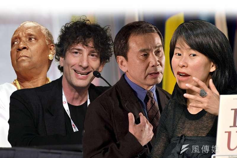 由左至右:入圍「新學院獎」的4位作家分別是孔德、尼爾蓋曼、村上春樹、金翠(圖片:美聯社;Asclepias@Wikipedia/CC BY-SA 3.0;MEDEF@Wikipedia/CC BY-SA 2.0/製圖;風傳媒)