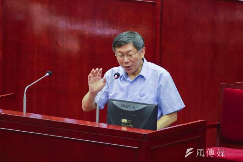 四年前競選時的法輪功器官移植事件,重新被端出枱面,不過,台北市長柯文哲議會備詢不受影響。(簡必丞攝)