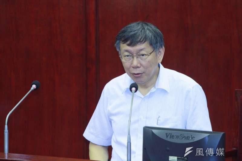 20180904-台北市長柯文哲於市議會進行備詢。(方炳超攝)