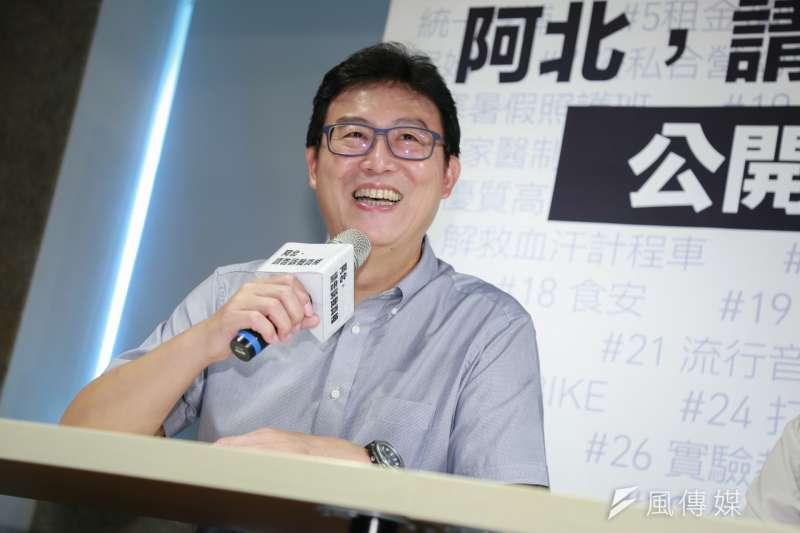20180904-民進黨台北市長參選人姚文智今日出席「阿北,請告訴我真相 :公開透明篇」記者會。(簡必丞攝)