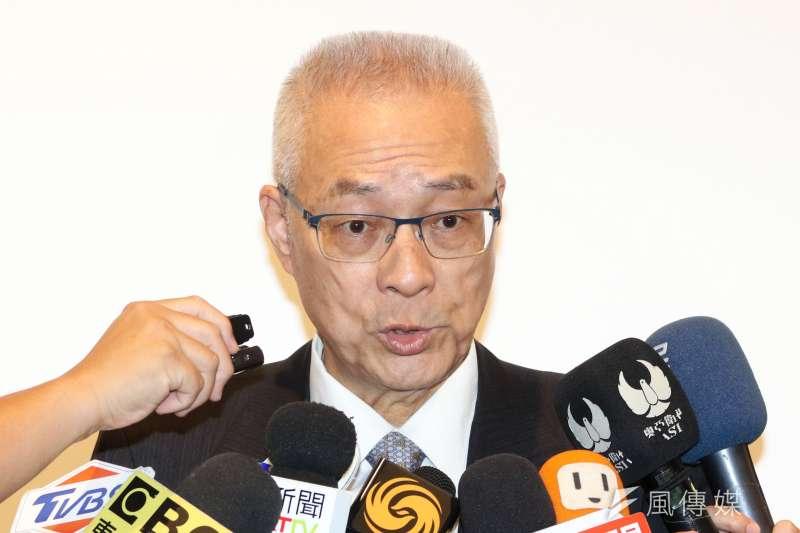國民黨主席吳敦義12日表示,「自焚的人(鄭南榕)問題不在他(侯友宜)」。(資料照,蘇仲泓攝)