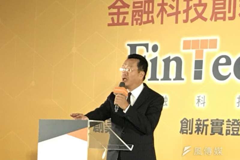 金管會主委顧立雄宣布,凱基銀行與中華電信合作案,成為金融監理沙盒委員會核准的第一案。(廖羿雯攝)
