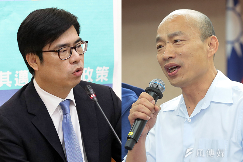 據《聯合報》25日公布的高雄市長選情最新民調指出,民進黨高雄市長參選人陳其邁(左)獲得34%選民的支持,另外有32%選民支持國民黨候選人韓國瑜(右),支持度難分軒輊。不過,在看好度方面,有42%民眾看好陳其邁,勝選機會比率顯著高於韓國瑜的19%。(資料照,蘇仲泓、顏麟宇攝/風傳媒報導)