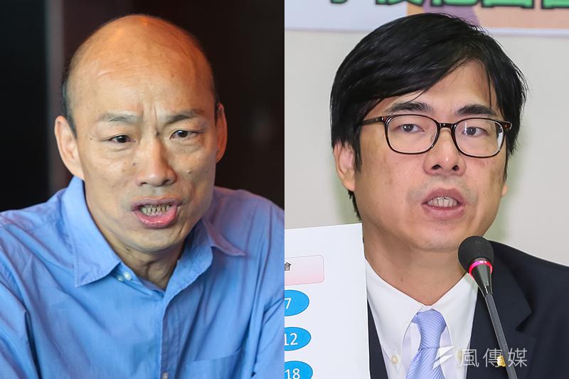 謝龍介爆料,最新民調顯示,韓國瑜支持度已經超過陳其邁6個百分點。圖為高雄市長藍綠參選人韓國瑜(左)和陳其邁。(右)。(資料照,顏麟宇攝/影像合成:風傳媒)