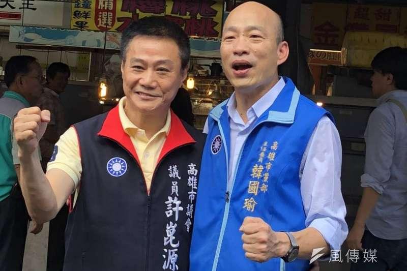 韓國瑜帶小雞成功,國民黨市議員剛好過半,許崑源(左)可望角逐議長。(圖/翻攝許崑源臉書)