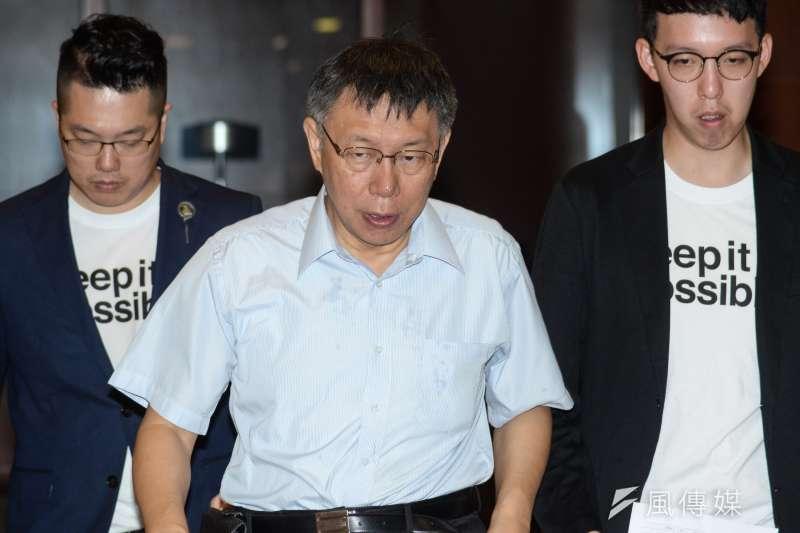台北市長參選人柯文哲要求葛特曼道歉,否則24小時內提告。(資料照片,甘岱民攝)
