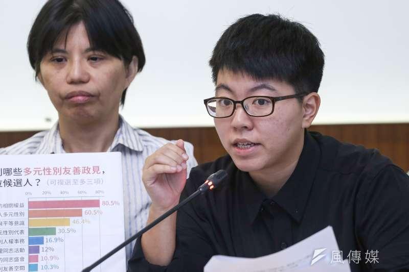 20181001-伴侶盟多元性別友善政策問卷結果發佈記者會,圖為台灣伴侶權益推動聯盟專員徐文倩。(陳品佑攝)