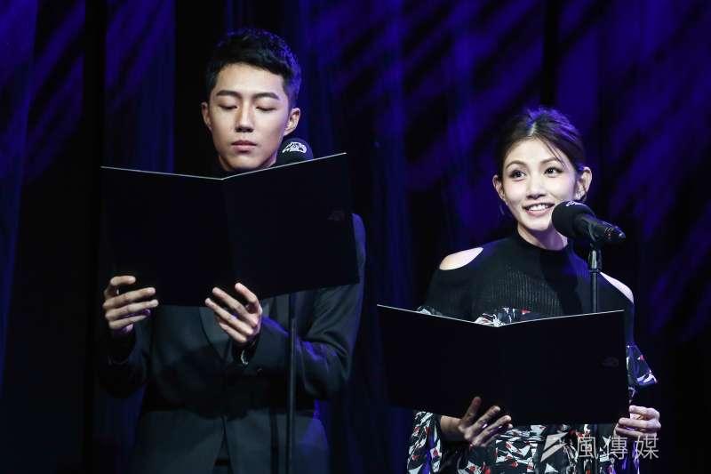 第55屆金馬獎入圍公布記者會,由李千娜(右)和蔡凡熙(左)宣布名單。(陳品佑攝)