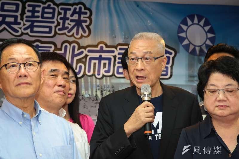 國民黨主席吳敦義3日出席國民黨台北市議會團大會。(顏麟宇攝)