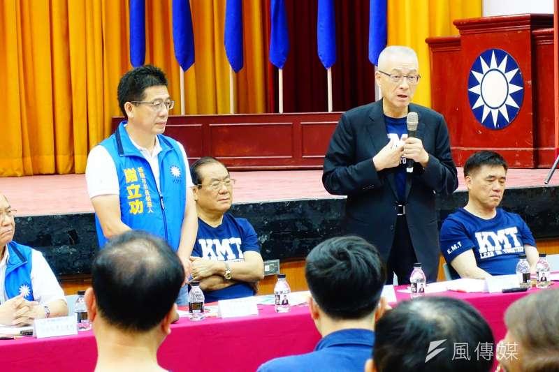 國民黨3日到基隆舉行行動中常會,替基隆市長參選人謝立功造勢。(羅暐智攝)