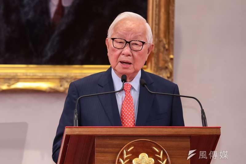 總統蔡英文3日召開記者會,宣布由前台積電董事長張忠謀為今年APEC領袖代表。(顏麟宇攝)