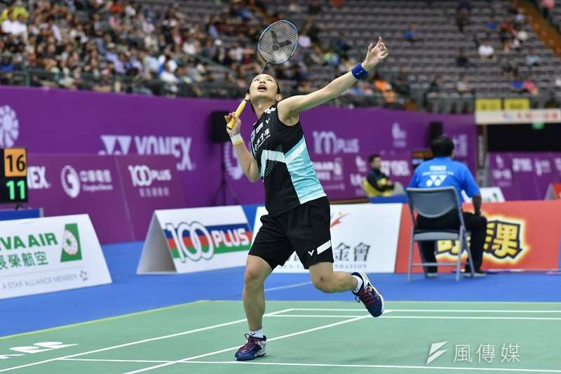 戴資穎在台北公開賽女單16強面對同樣身為台灣選手的江穎麗,輕鬆以直落二勝出。 (王永志攝)