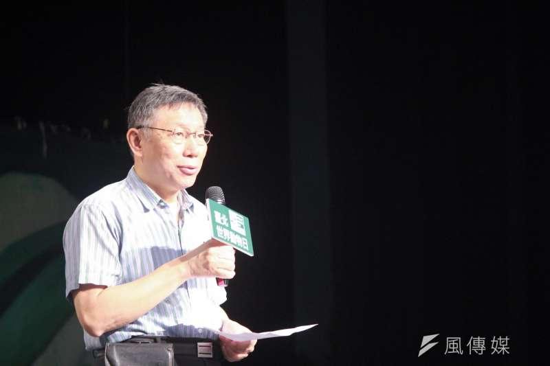 遭指控騙子,柯文哲4日受訪表示,「他(葛特曼)一個外國人跑來台灣當選舉的打手幹什麼,覺得這實在是怪異。」(資料照,方炳超攝)