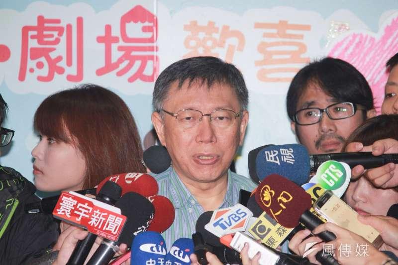 台北市長柯文哲上午前往兒童新樂園,參加歡慶台北世界動物日活動,會後受訪時,被媒體問到葛特曼與活體器官移植的相關問題。(方炳超攝)
