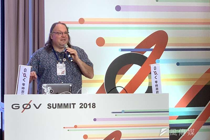 零時政府(g0v)國際雙年會:美國公民新聞網站「全球之聲」共同創辦人佐克曼(Ethan Zuckerman)(簡恒宇攝)