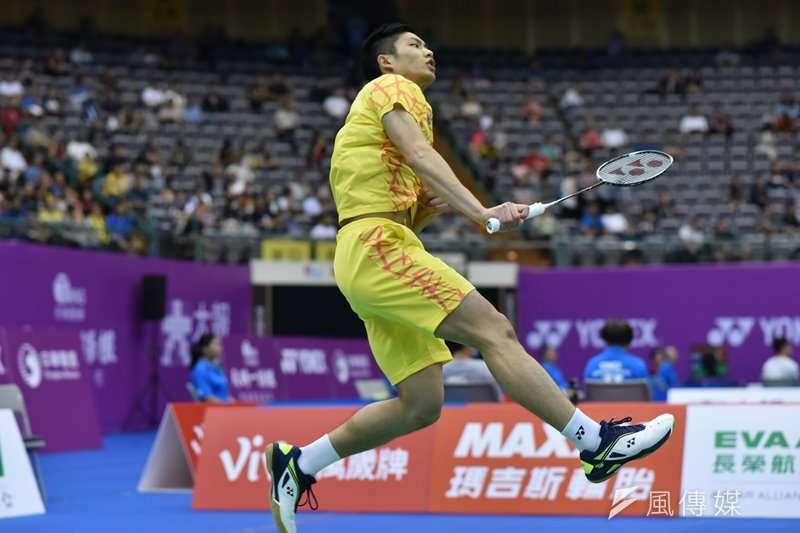 中華台北男子單打好手周天成,在中國福州公開賽4強戰以直落二擊敗地主好手石宇奇,挺進最後的決賽。(王永志攝)