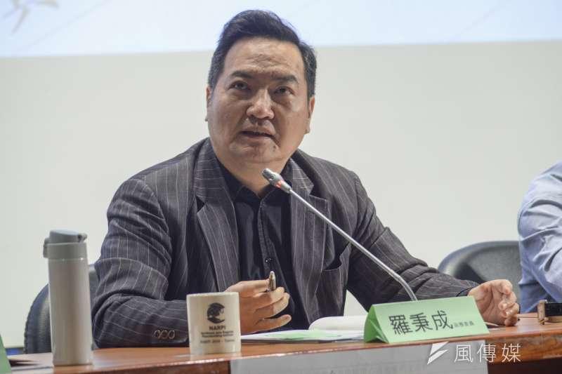 行政院政務委員羅秉成談假新聞問題。(資料照片,甘岱民攝)