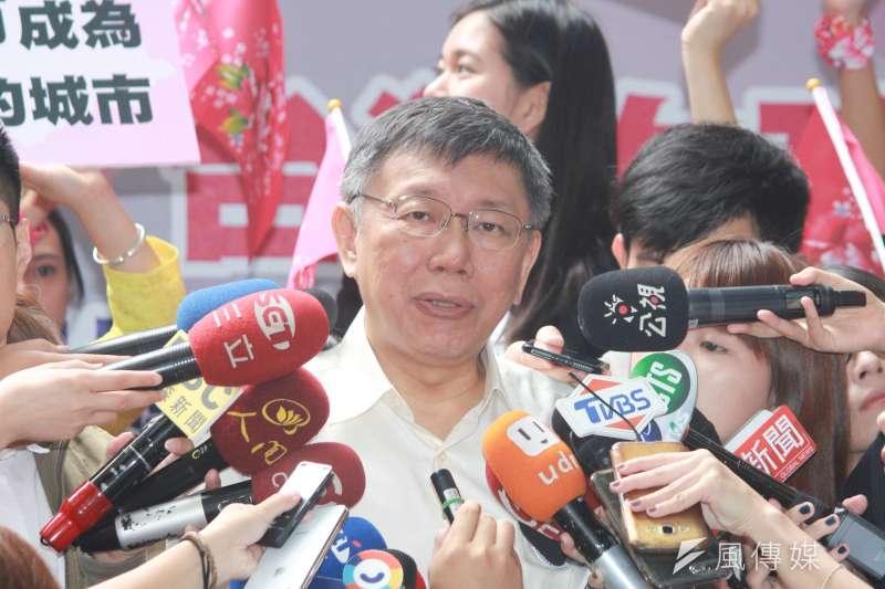 台北市長柯文哲9日參加勵馨基金會舉辦的「台灣女孩日」記者會。( 方炳超攝)