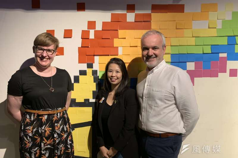 邀請國際特赦組織LGBT人權研究員卡特(左)、東亞區倡議統籌鍾明麗(中)及國際特赦組織愛爾蘭分會秘書長歐高曼(簡恒宇攝)
