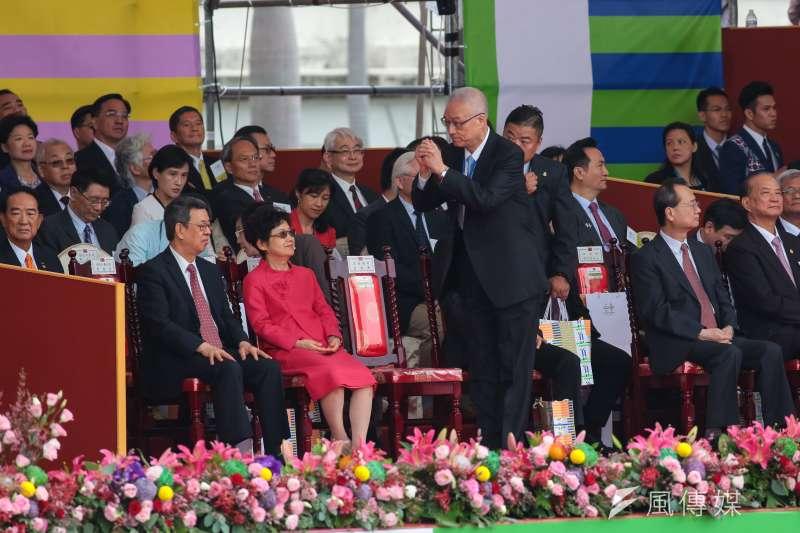 20181010-前副總統吳敦義10日出席2018年中華民國國慶大典。(顏麟宇攝)