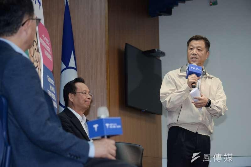 20181012-台北市長參選人丁守中環保政策記者會,前勞動部長陳雄文。(甘岱民攝)