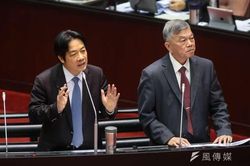 20181012-行政院長賴清德(左)、經濟部長沈榮津12日於立院備詢。(顏麟宇攝)