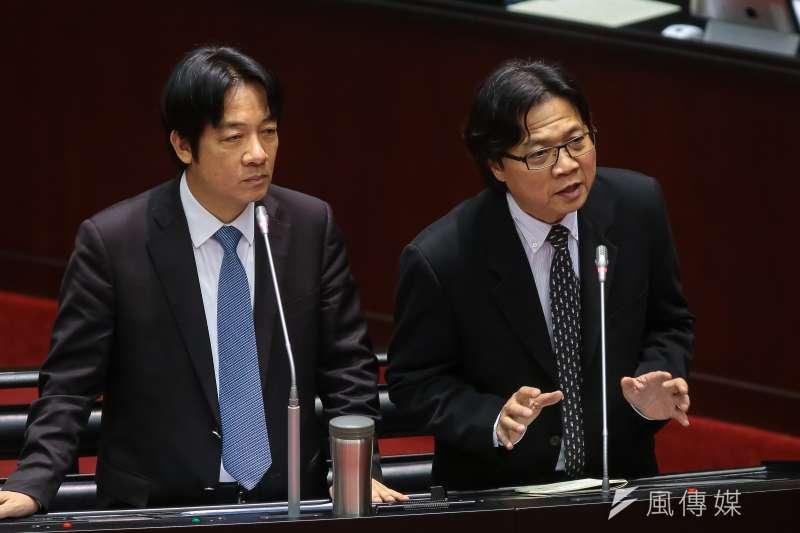 20181012-行政院長賴清德、教育部長葉俊榮(右)12日於立院備詢。(顏麟宇攝)