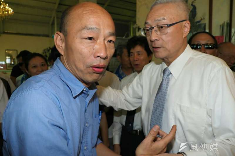 國民黨主席吳敦義(右)2日表示,高雄市長韓國瑜(左)未到台北為台北市長候選人丁守中輔選,是展現「人性善良的一面」。(資料照,新新聞林瑞慶攝)