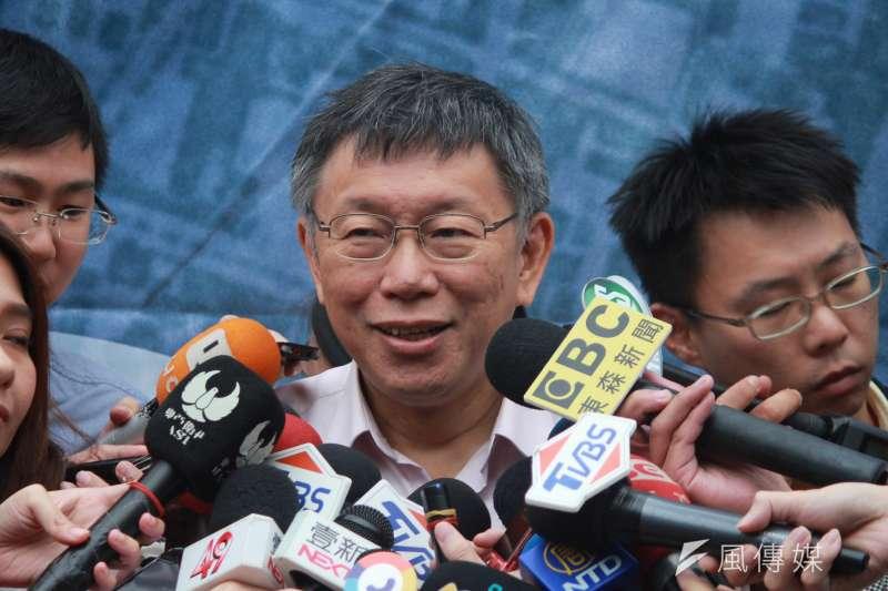 20181016-台北市長柯文哲16日下午出席《人家》紀錄片首映,會後接受記者訪問。(方炳超攝)