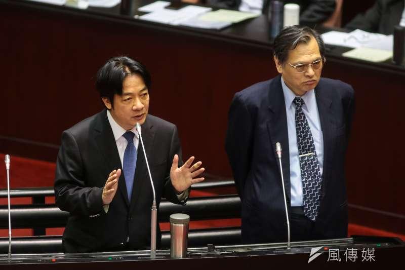 行政院長賴清德、陸委會主委陳明通16日於立院備詢。(顏麟宇攝)
