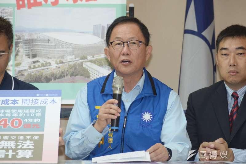 「柯文哲大巨蛋遮羞布 上億損失誰承擔」記者會,台北市長候選人丁守中宣示處理大巨蛋決心。(甘岱民攝)