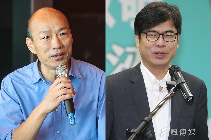台灣競爭力論壇25日舉行記者會公布最新高雄市長民調,國民黨候選人韓國瑜(左)支持度39%,民進黨候選人陳其邁(右)32.7%。(資料照,顏麟宇、陳明仁攝/風傳媒合成)