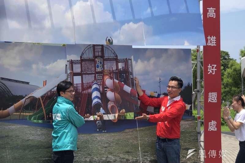 陳其邁(圖左)與林智鴻允諾未來將在議會爭取,於鳳山設置兼具挑戰性與學習功能的大型特色遊具示範點。(圖/徐炳文攝)