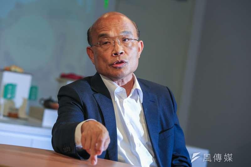 20181018-民進黨新北市長候選人蘇貞昌今(18)日接受專訪。(簡必丞攝)