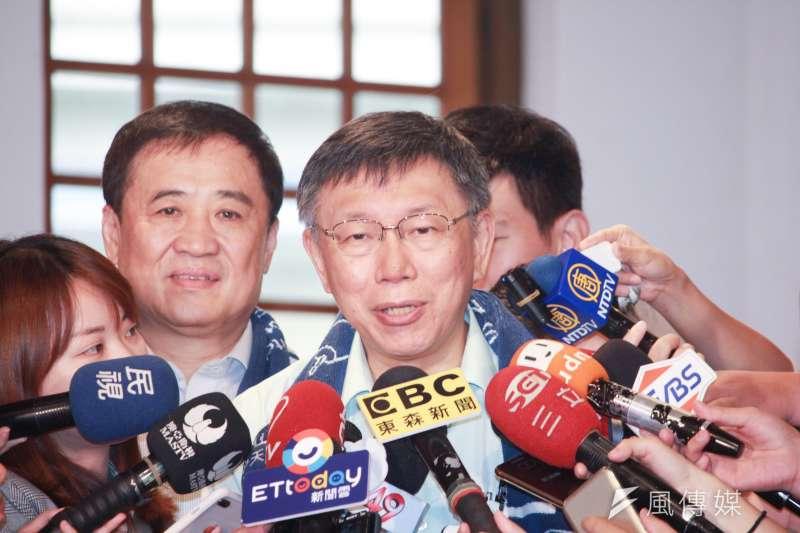 台北市長柯文哲今(18)受訪時柯文哲說,這要看定義,其實以台灣人民的福祉為最高考量,這就是台灣派。(方炳超攝)
