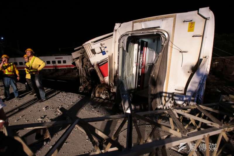台鐵普悠瑪翻車事故。(顏麟宇攝)