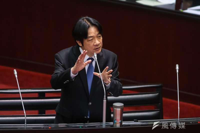 行政院長賴清德今(23)上午於立法院備詢,指出美國2艘軍艦通過台灣海峽,為常規演訓活動。(顏麟宇攝)