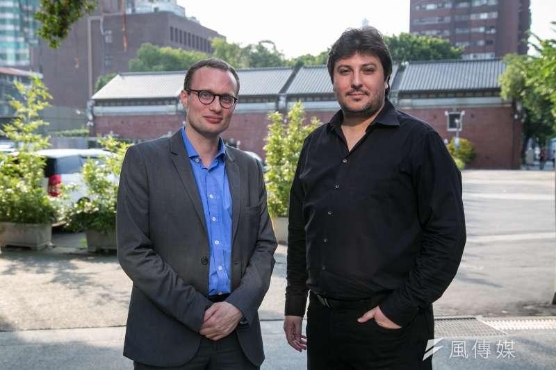法國VR新創公司「Digital Rise」創辦人克萊恩(左) 及維耶普(右)。(顏麟宇攝)