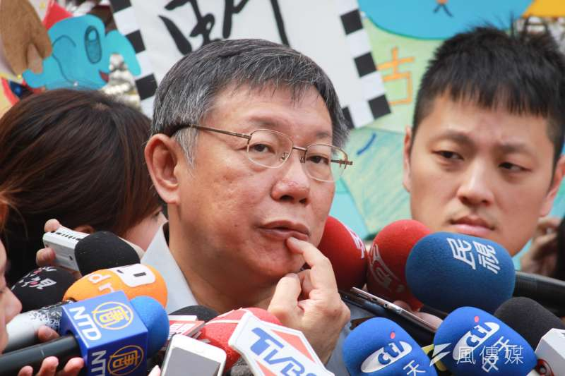 台北市長柯文哲26日前往古亭國小參加活動,遭無黨籍市議員候選人蔡宜珊嗆聲,會後受訪,柯文哲輕描淡寫的說「還好啦」。(方炳超攝)