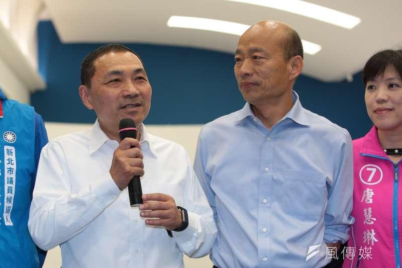 新北市長侯友宜(左)本周是否將與國民黨總統候選人韓國瑜(右)同框,引發外界關注。(資料照,顏麟宇攝)